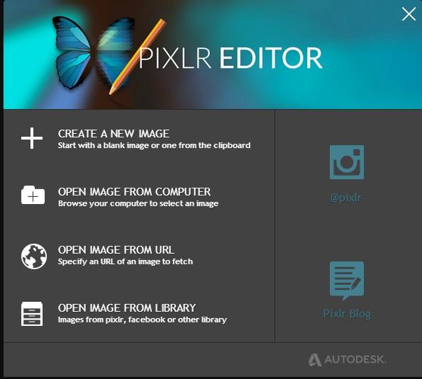 pixlr-editor-startup-screen