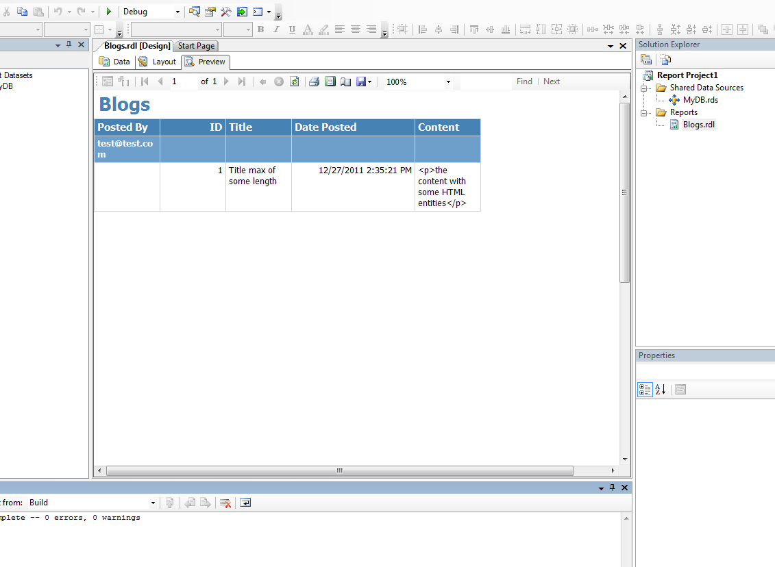 SQL Server Report Service