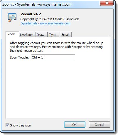 ZoomIt v4.2 a zoom tool that same as the Windows 7 Aero Zoom